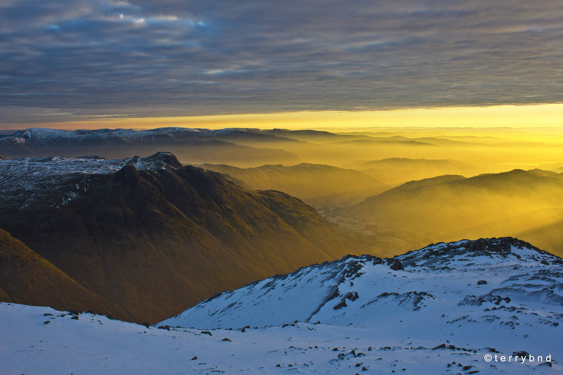 The Life of a Mountain: Scafell Pike – An Interview with Terry Abraham-dawn-light-on-langdale-pikes